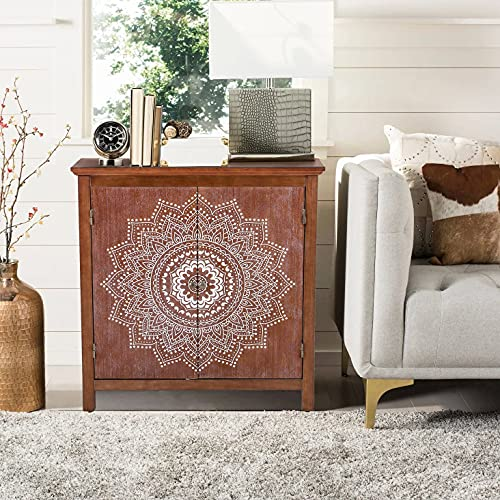 Accent Entryway Cabinet with Doors - Carved Decorative Kitchen Buffet Sideboard Storage Cabinet for Living Room