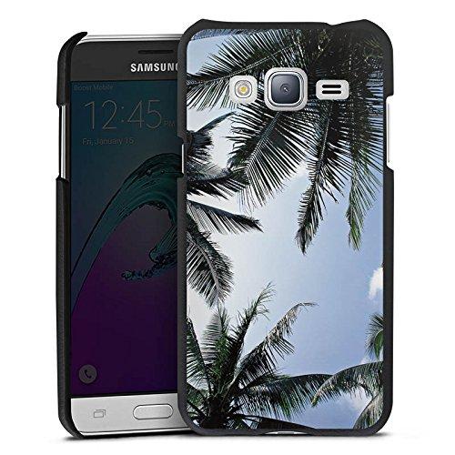 DeinDesign Cover kompatibel mit Samsung Galaxy J3 Duos 2016 Lederhülle schwarz Leder Hülle Leder Handyhülle Palmen Himmel Natur