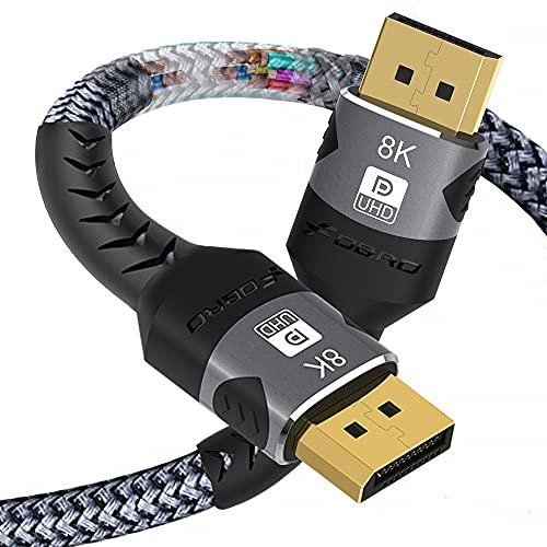 FDBRO 8K DisplayPort Cable 1.4 Macho a Macho 8K DP Cable Soporte 8K@60hz, 4K@144hz, HDR, HDCP 2.2 para PC, HDTV, Computadoras portátiles, Monitor de juegos, Tarjeta gráfica