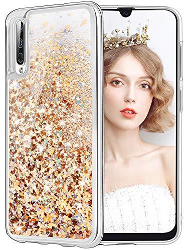 wlooo Cover per Samsung Galaxy A50, Cover Samsung Galaxy A50, Glitter Bling Liquido Sparkly Luccichio Pendenza TPU Silicone Protettivo Morbido Brillantini Quicksand Custodia Case (Oro Argento)