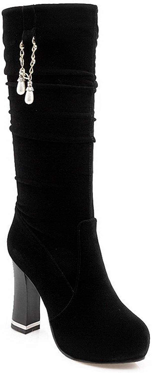 AmoonyFashion Women's Frosted Pull-On Closed Toe High Heels Solid Boots with Jewels, Black-Jewels, 31