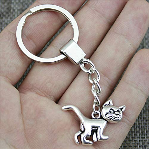 YCEOT Fashion Keychain 2 Colors Antique Bronze Silver Plated Color 30X22Mm Cat Pendant Key Chain Ring Holder