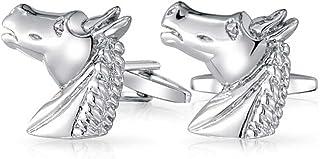 Bling Jewelry Thoroughbred Horse Head Equestrian Cowboy Shirt Cufflinks for Men Silver Tone Brass Steel Hinge Back