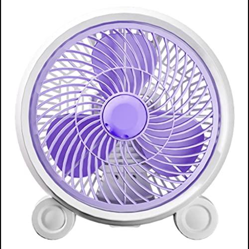 QIFFIY Escritorio Pequeño Ventilador eléctrico, Mini Ventilador eléctrico portátil, Dormitorio del Estudiante Viento Grande y Ventilador de Escritorio Tranquilo, Regalos de Moda (Color : Purple)