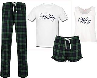 60 Second Makeover Limited Hubby Wifey Wedding Couples Matching Pyjama Tartan Set Couples Pajamas