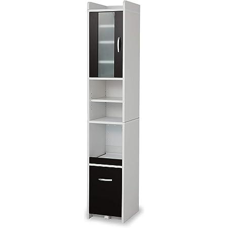 LOWYA ロウヤ 食器棚 キッチン収納 収納 おしゃれ 幅32.5cm ハイタイプ ブラウン×ホワイト
