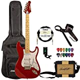 Sawtooth ES Series Electric Guitar Travel Bundle with Portable 5 Watt Amp, ChromaCast Padded Case, Cable, Tuner & Picks, Candy Apple Red