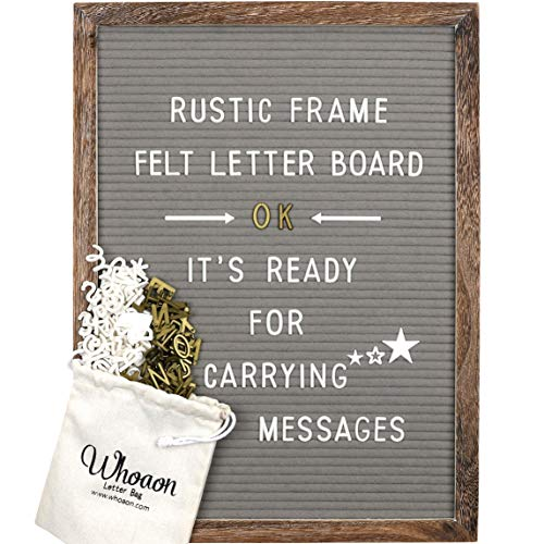 Rustic Wood Frame Gray Felt Letter Board 12x16 inch. Precut White & Gold Letters, Script Cursive Words, Wood Stand, Scissors. Changeable Letter Sign for Rustic Farmhouse Wall Decor. Grey Felt Message Board