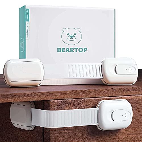 Baby Schubladensicherung BEARTOP | starker Halt dank 3M Kleber (>15kg)| Universalsicherung, Kindersicherung, Babysicherung | Schloss für Schränke, Schubladen usw. | ZUFRIEDENHEITSGARANTIE (3 Jahre)*