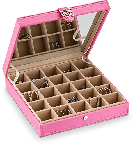 Glenor Co Earring Holder - Classic 25 Section Jewelry Box/Case/Organizer for Earrings, Rings, Necklaces, Jewelry, Cufflinks or Collections. 25 Small Compartments with Elegant Large Mirror - Pink