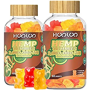 (2 Pack) Hemp Gummies, HOOLOO 2,000,000 high Potency Fruity Hemp Gummy Bears for Relaxing, Stress, Anxiety, Better Sleep & Calm Mood, Natural Hemp Extract Gummies, Made in USA