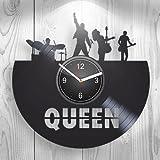 Queen Freddie Mercury Fans Rock Band Gift for Boyfriend Girlfriend Wall Art, New Handmade Vinyl Wall Clock Decor, Office Decoration for Living Room Inspirational, Best Present for Him, Room Decor