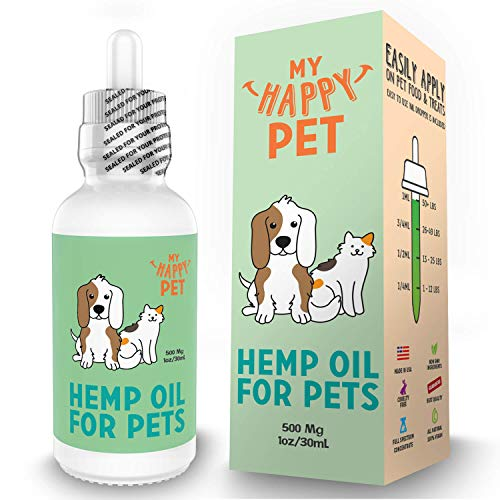 My Happy Pet - Dog Anxiety Relief Organic Hemp Oil for Dogs, Dog Calming and Pain Relief Releaf - USA Grown & Tested - Easily Apply on Dog Food & Treats (500mg)
