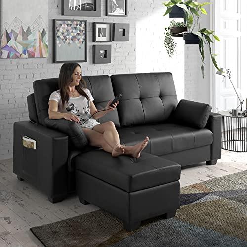 ECO-DE Canapé-lit en similicuir, 9 programmes de massage et 5 niveaux d'intensité beige ECO-8220 Noir