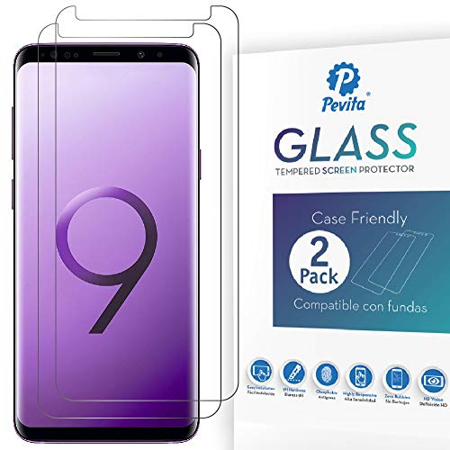 Pevita Protector de Pantalla para Samsung Galaxy S8 Plus/Samsung Galaxy S9 Plus [2 Packs] Case Friendly. Fácil Instalación. Cristal Templado para Samsung Galaxy S8 Plus/Samsung Galaxy S9 Plus