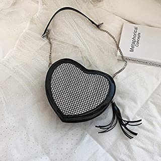 Adebie - 2019 New Fashion Women Heart Shaped Messenger Bag Love Chain Diamond Patent Leather Shoulder Bag High Quality Luxury Handbag Sac Black []