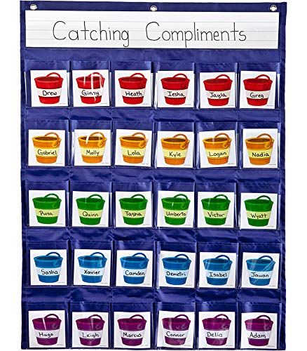 Carson Dellosa Education Positive Reinforcement Pocket Chart 30 Pocket Organizer for Classroom Management, 26.10L 11.80W 0.37H (158161)