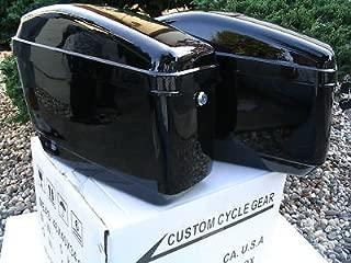 New Hard Saddle bags Saddlebags w/mounting kits Fit Honda Shadow Kawasaki Vulcan VN Black