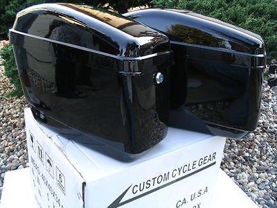 New Hard Saddle bags Saddlebags w/mounting kit Fit Honda Shadow Kawasaki Vulcan VN Black