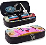 Leather Pencil Case Chef Kirby Super Smash Bros Funny Cooker Pen Case Pouch Holder Stationery Cosmetic Makeup Double Zipper Bag for Adults Girls Boys School Office / u199