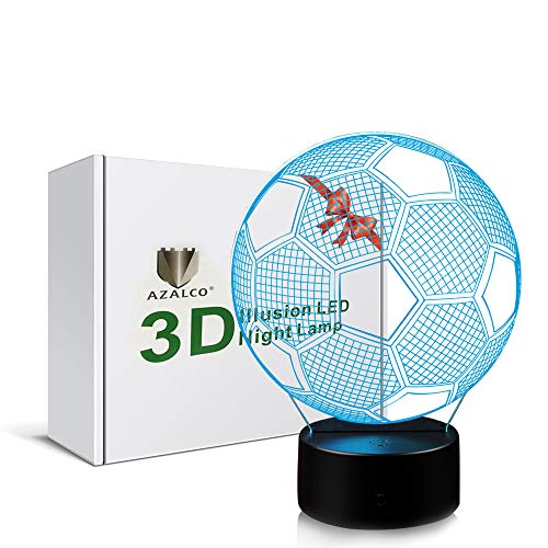 AZALCO 3D Illusion Soccer Night Light Lamp with 7 Color Change Touch Black Base Power by AA Batteries Maryland