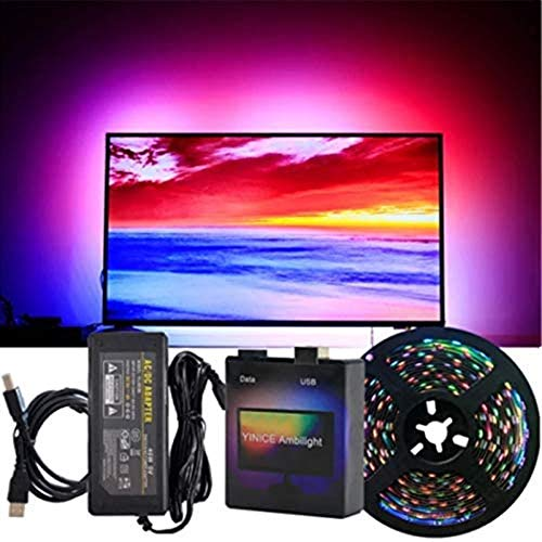 Ecosway DIY Ambilight TV PC Dream Bildschirm USB LED Streifen HDTV Computer Monitor Hintergrundbeleuchtung Adressable LED Strip Full Set, EU, 5M-60LED