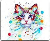 Mouse Pad, Watercolor Cat Mouse Pad, Cute Animal Mouse Pad, Gaming Mouse Mat, Square Waterproof Mouse Pad Non-Slip Rubber Base MousePads for Office Home Laptop Travel, 9.5'x7.9'x0.12' Inch