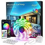 Led Strip Lights, 16.4 ft Bluetooth APP Controller RGB Led Light Strip, 5050 LEDs Music Sync Color Led Strip Lights Kit with Remote and 12V Power Supply for Bedroom, Room, Home Decoration