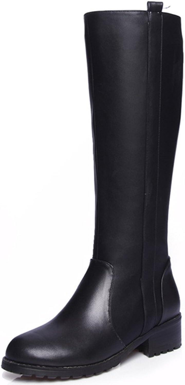 Nine Seven Genuine Leather Women's Round Toe Chunky Heel Zip Knee High Handmade Riding Boot