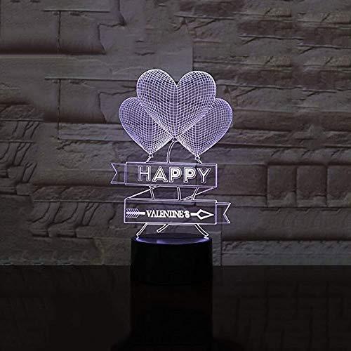 QB nachtlampje, 3D illusie cartoon, liefde hart ballon lamp slaapkamer decoratieve lampen Valentines geschenken USB 3D LED nachtlampje