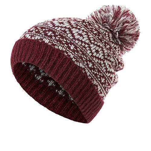 MaoWan Sombrero de Gorros de Invierno de pompón para Mujeres Tejer Sombreros de Invierno Hembra Gruesa Skullies Tapa Mantener Caliente (Color : Dark Red)