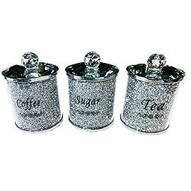 Diamond Style Crystal containers for Coffee Tea Sugar Kitchen Storage tins, Canisters, Jars. Jars Set Tea Coffee Sugar…