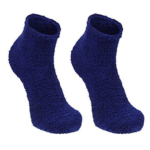 LUOEM 3 Pairs Einfarbig Männer Socken Flauschigen Pantoffel Socken Fuzzy Verdicken Warme Socken Korallen Fleece Schlaf Strumpf für Winter Freies Größe (Blau)