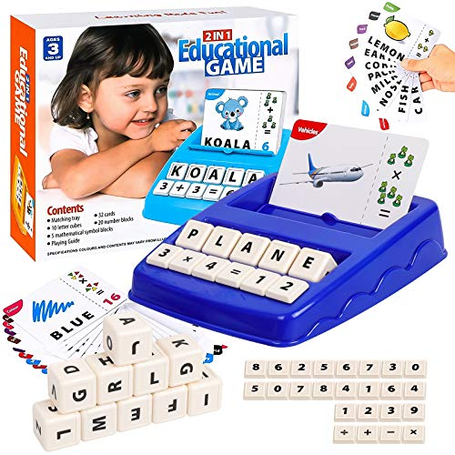 SGOTA Matching Letter Game for Kids, Alphabet Spelling & Reading Words, Objects & Number & Color Recognition, Learning Educational Toy for Preschooler & Kindergarten Kids 3+ Years Old Girls and Boys