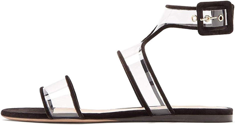 goldencar 2019 Summer Hot Fashion Women shoes Clear Perspex Sandals Ankle Strap Transparent Flats Dress shoes