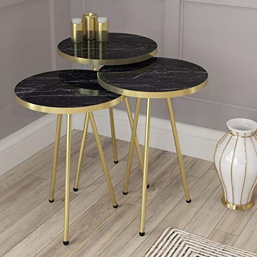 Derin Couchtisch   Marmoroptik   Schwarz   Luxus Design   Gold   Marmor stapelbar Couchtische   Beistelltisch rund   Wohnzimmertisch   Gold   Luxus Salon Stapeltisch   39 x 39 x 54 cm