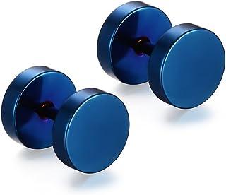 Niome Men Women 8MM Stainless Steel Barbell Stud Earrings Ear Piercing Plugs Tunnel Punk Style (Blue)