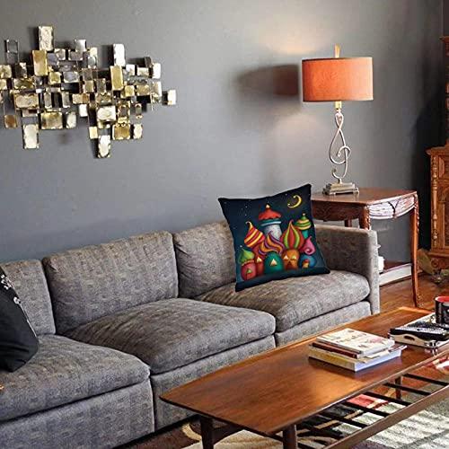 Federa decorativa per cuscino Fantasia, stile orientale Arabesque Castelli sotto il cielo stellato Sala giochi per bambini da favo Fodera per cuscino quadrato per divano letto di casa 45X45cm