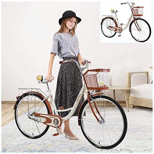 Womens Bicycles 26 inch,Women Bike with Basket in The Front, Womens Beach Cruiser Bike Classic Bicycle Retro Bicycle Beach Cruiser Bicycle Retro Bicycle
