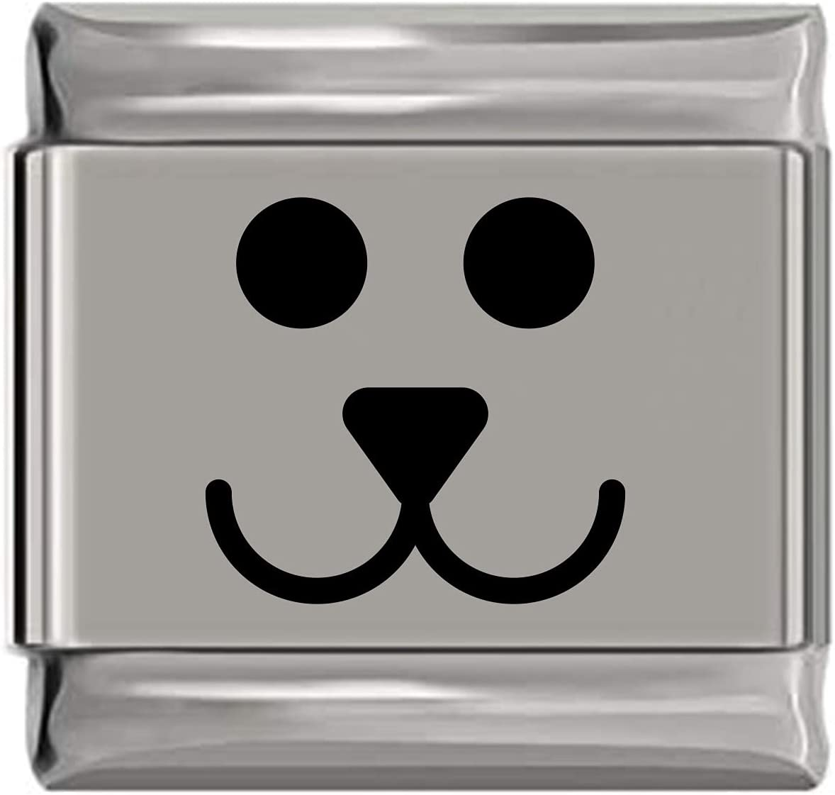 Puppy Dog Max 40% OFF Animal Face Engraved Laser Kansas City Mall Charm Italian