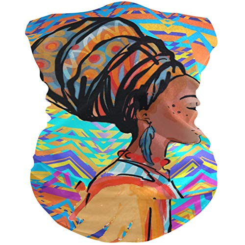 Protective Veil Scarves Vintage African Woman with Earring Print Women Men Scarf Sunscreen Dust Wind UV Sun Hair Wrapping Wristband Headwear for Outdoor Hiking Cycling Running Motorcycling