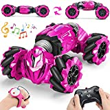RC Stunt Car 2.4GHz Remote Control Gesture Sensor Toy Car 4WD Transform Double Sided Rotating Off Road Vehicle 360° Flips with Lights Music Toy Cars for Boys & Girls Birthday