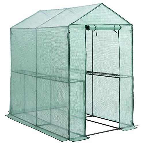 Gardebruk Foliengewächshaus 2,23m² 4 Ablagen aufrollbare Tür Treibhaus Tomatenhaus Pflanzenhaus Anzucht 190x186x120cm
