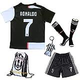 uijinzhongs Maillot de Football pour garçons # 7 Ronaldo Juventus Home - Pantalon et Chaussette de Football pour Enfants avec Chaussettes de Football .Sac. Porte-clés (6-8 Years of age/24)
