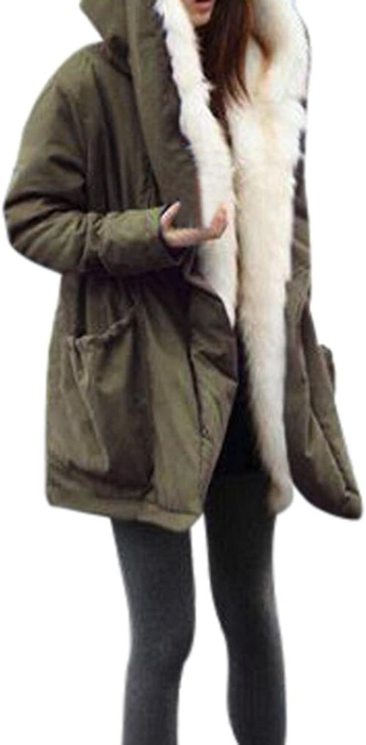 Elogoog Women Winter Warm Thick Fleece Faux Fur Coat Jacket Parka Hooded Trench Outwear