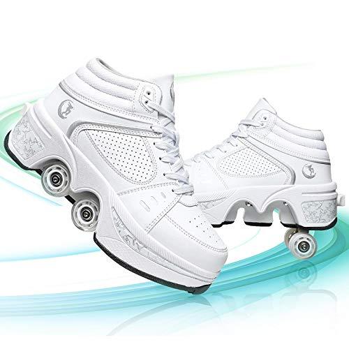 Pinkskattings@ Rollschuhe Deformation Schuhe Inline Skate 2 in 1 Mehrzweckschuhe Verstellbare Quad Rollschuh Outdoor Sportschuhe Erwachsene,Weiß,38