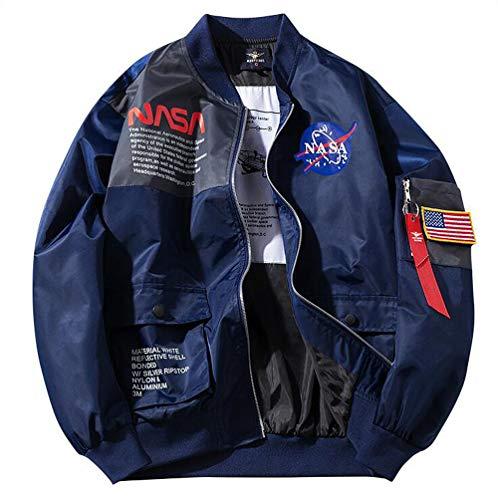 ANLW NASA Logo Flight Bomber Jacket Herren Damen Langarm Sweatshirt Joint MA-1 Flight Windbreaker Winddicht Wasserfester Mantel,Blau,L