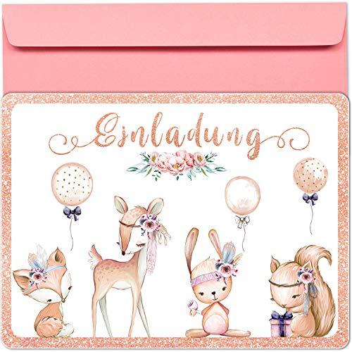 artpin® 10x Glitzer EINLADUNGSKARTEN für Party und Kindergeburtstag mit rosa Umschlägen - Geburtstagseinladungen, EINLADUNG für Mädchen zum Geburtstag, Kinderparty - Luftballons Wald Tiere P59
