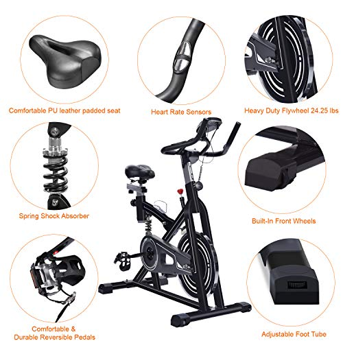 ERGO LIFE Exercise Bike Stationary Indoor Cycling Bicycle, Stationary Spin Bike with Tablet Holder/Pulse Sensor/LCD Monitor for Home Cardio Workout, 330Lbs Weight Capacity (Black09060)
