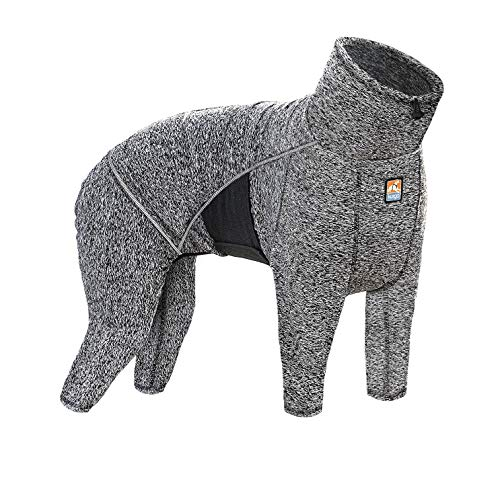 Kurgo Dog Onesie Body Warmer | Bodysuit for Dogs | Recovery Suit | Pet Pajamas | Reduce Anxiety | Contains Shedding | Leash Opening | Reflective | Stowe Base Layer | Heather Black/Grey (Small)